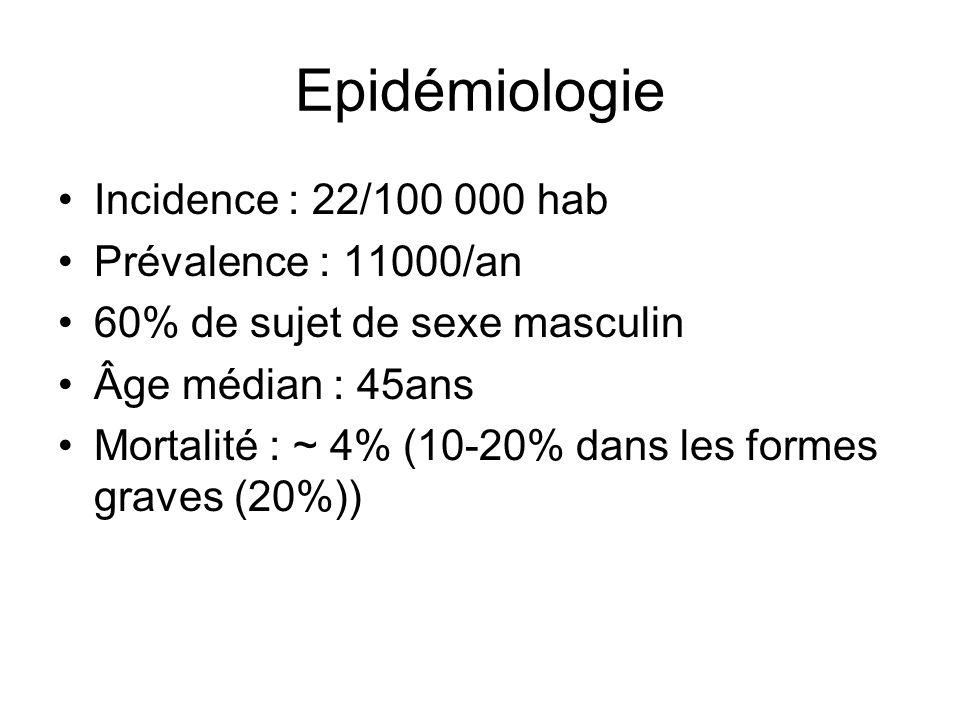 Epidémiologie Incidence : 22/100 000 hab Prévalence : 11000/an