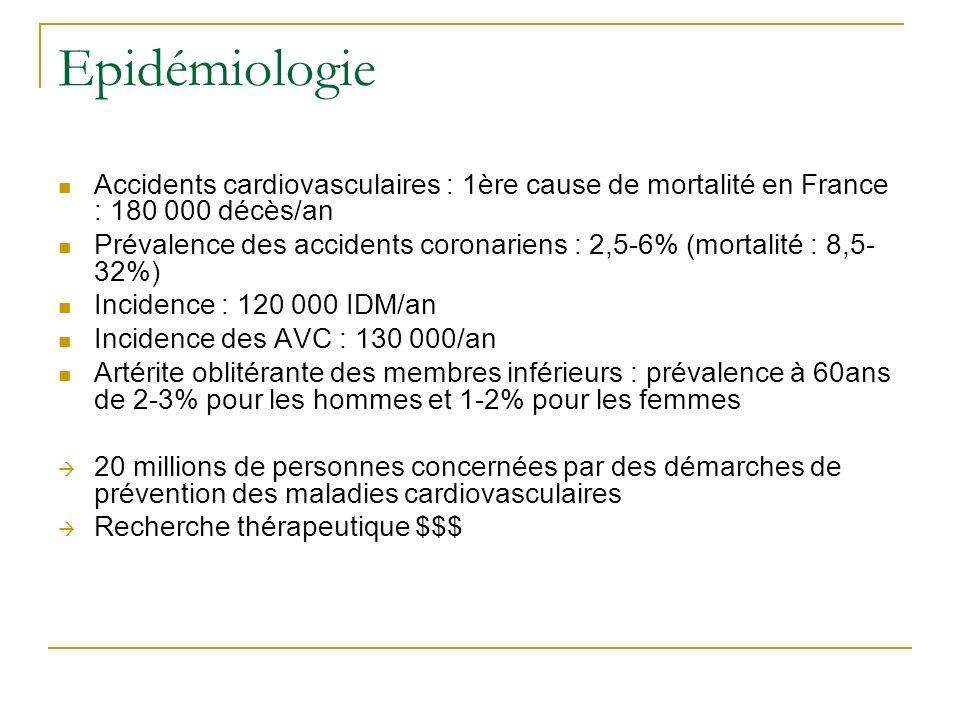 Epidémiologie Accidents cardiovasculaires : 1ère cause de mortalité en France : 180 000 décès/an.