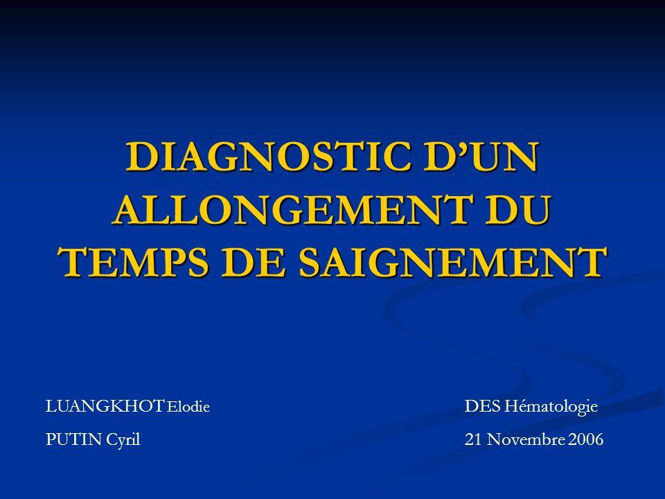 DIAGNOSTIC D'UN ALLONGEMENT DU TEMPS DE SAIGNEMENT