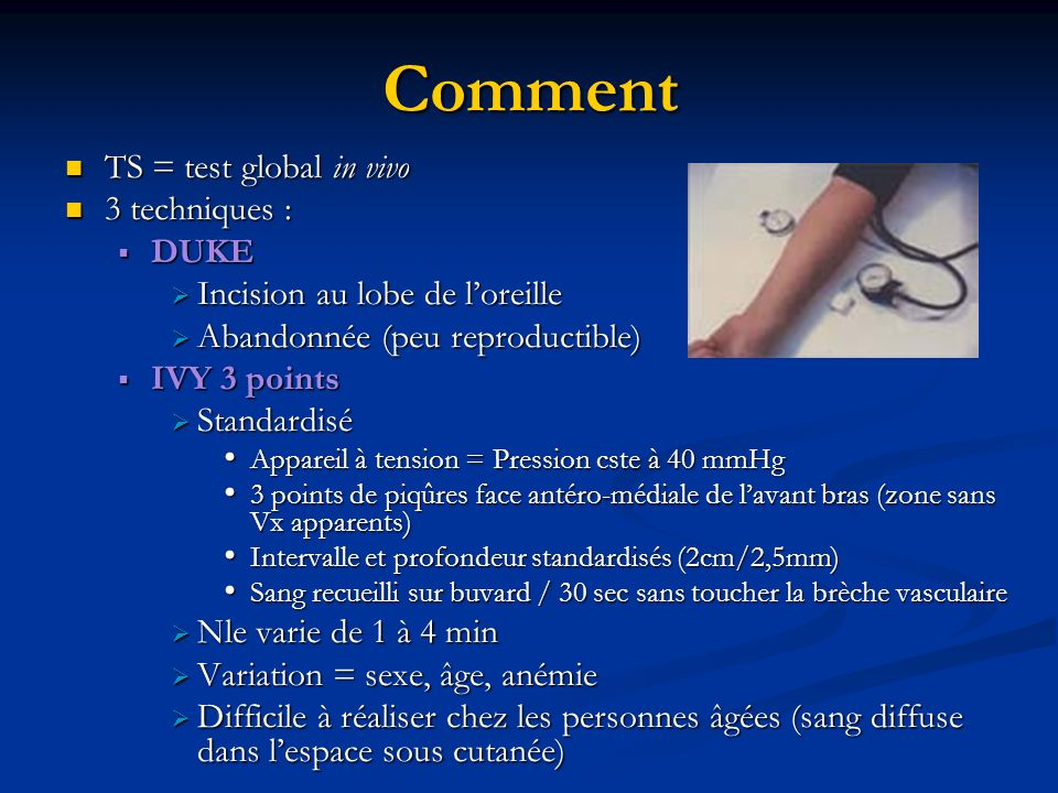 Comment TS = test global in vivo 3 techniques : DUKE