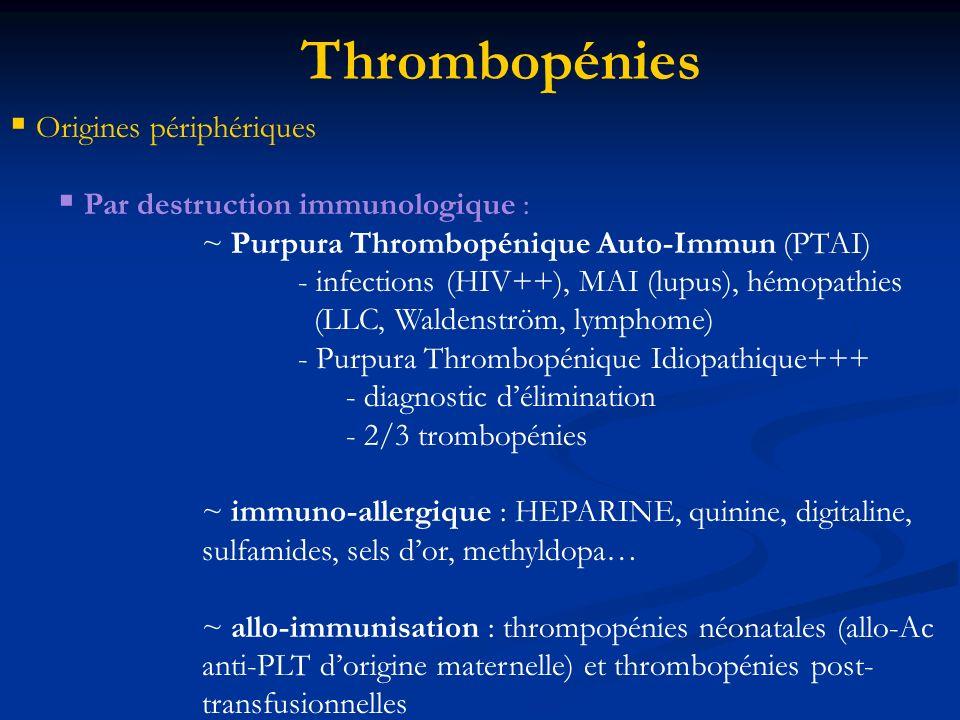 Thrombopénies Origines périphériques Par destruction immunologique :