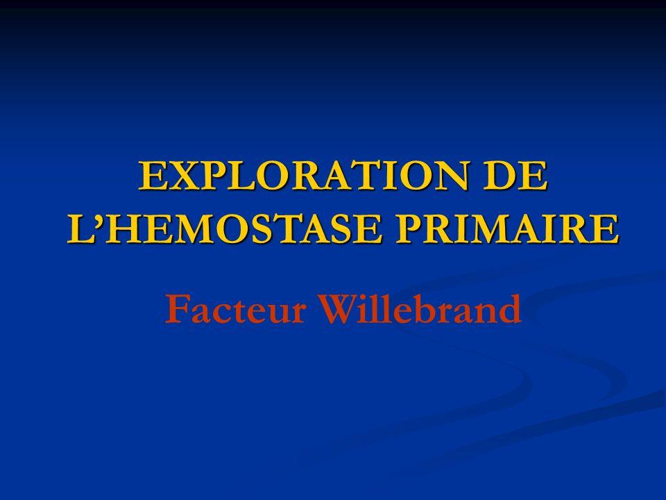 EXPLORATION DE L'HEMOSTASE PRIMAIRE