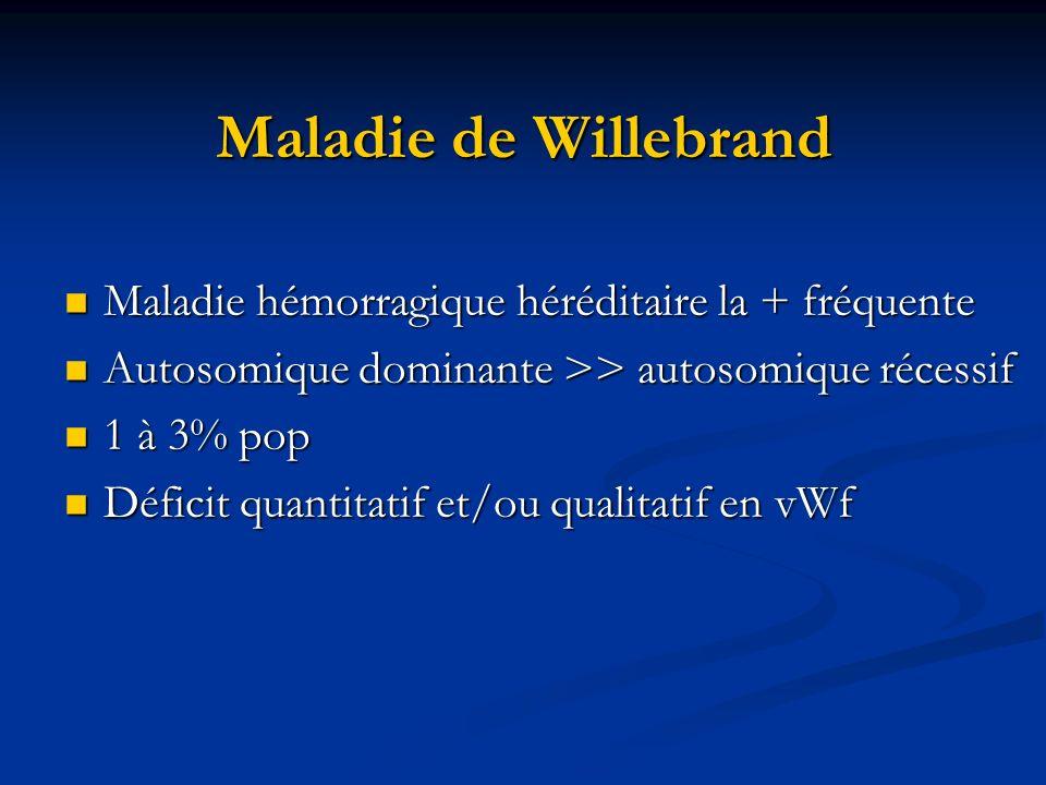 Maladie de Willebrand Maladie hémorragique héréditaire la + fréquente
