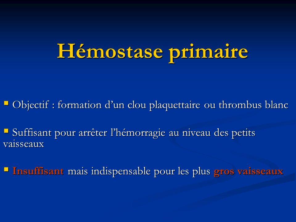 Hémostase primaire Objectif : formation d'un clou plaquettaire ou thrombus blanc. Suffisant pour arrêter l'hémorragie au niveau des petits vaisseaux.