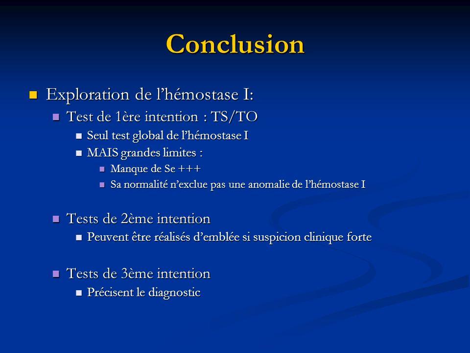 Conclusion Exploration de l'hémostase I: