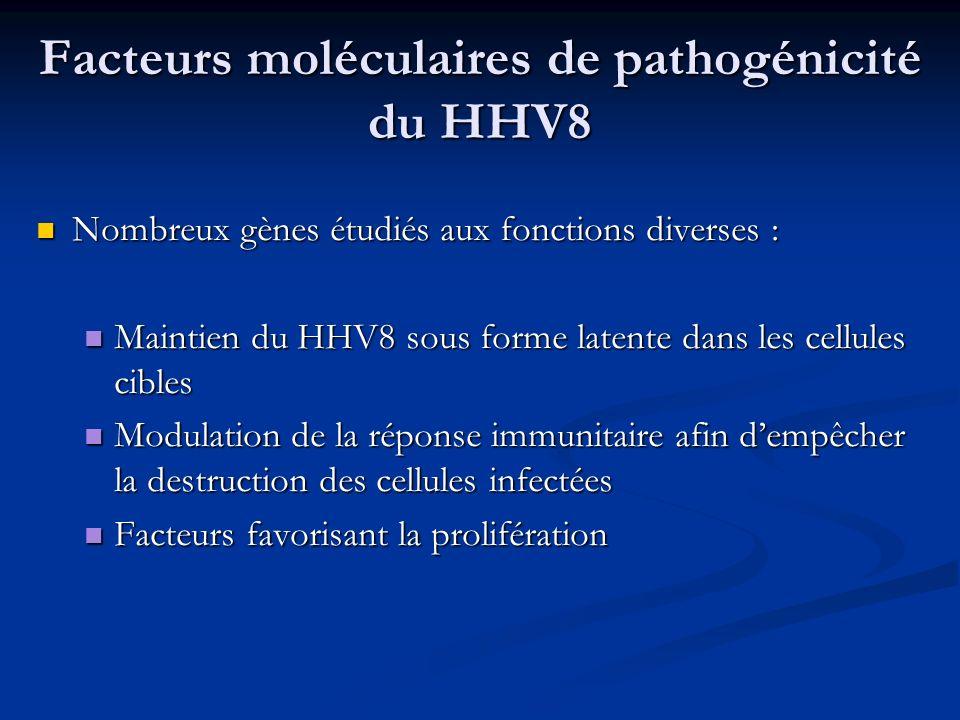 Facteurs moléculaires de pathogénicité du HHV8