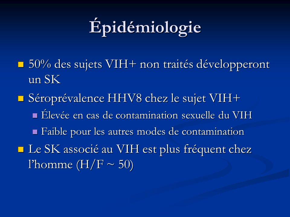Épidémiologie 50% des sujets VIH+ non traités développeront un SK