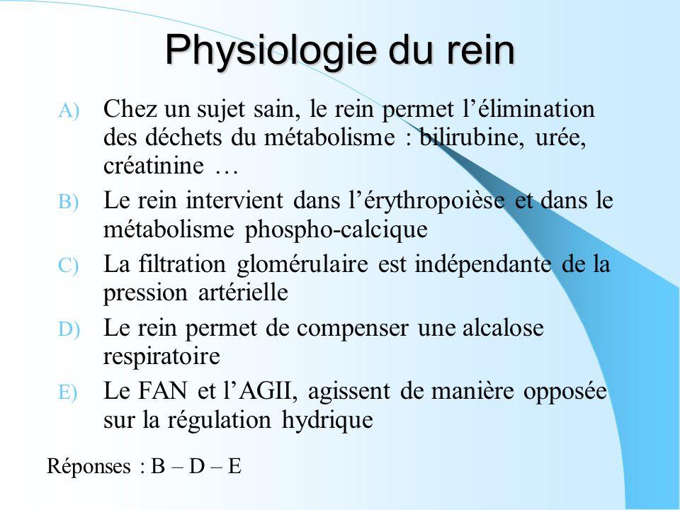 Physiologie du rein Chez un sujet sain, le rein permet l'élimination des déchets du métabolisme : bilirubine, urée, créatinine …