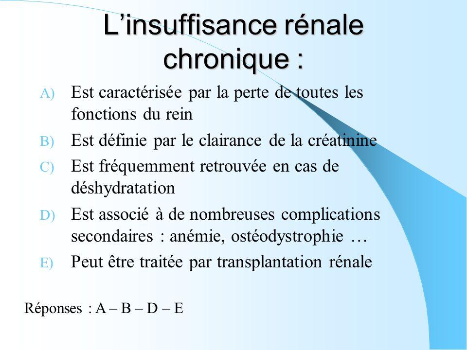 L'insuffisance rénale chronique :