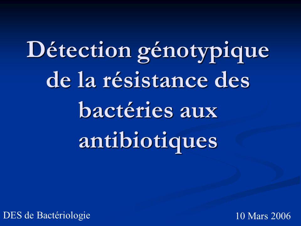 Détection génotypique de la résistance des bactéries aux antibiotiques