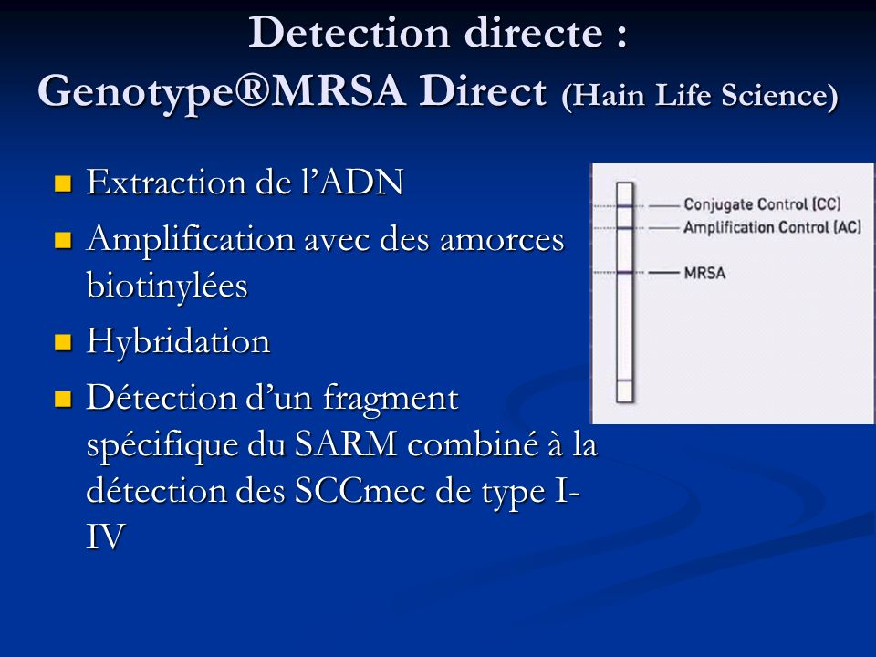 Detection directe : Genotype®MRSA Direct (Hain Life Science)