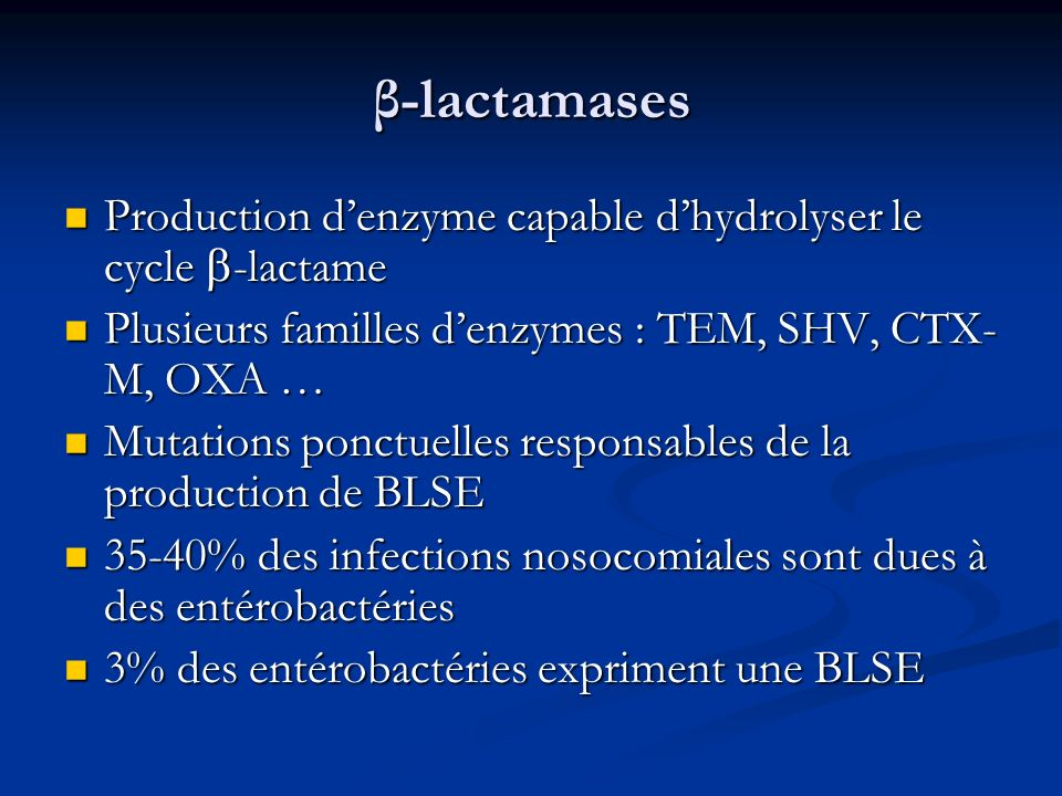 β-lactamases Production d'enzyme capable d'hydrolyser le cycle -lactame. Plusieurs familles d'enzymes : TEM, SHV, CTX-M, OXA …
