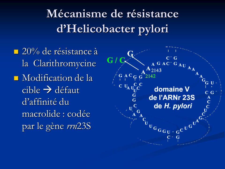Mécanisme de résistance d'Helicobacter pylori