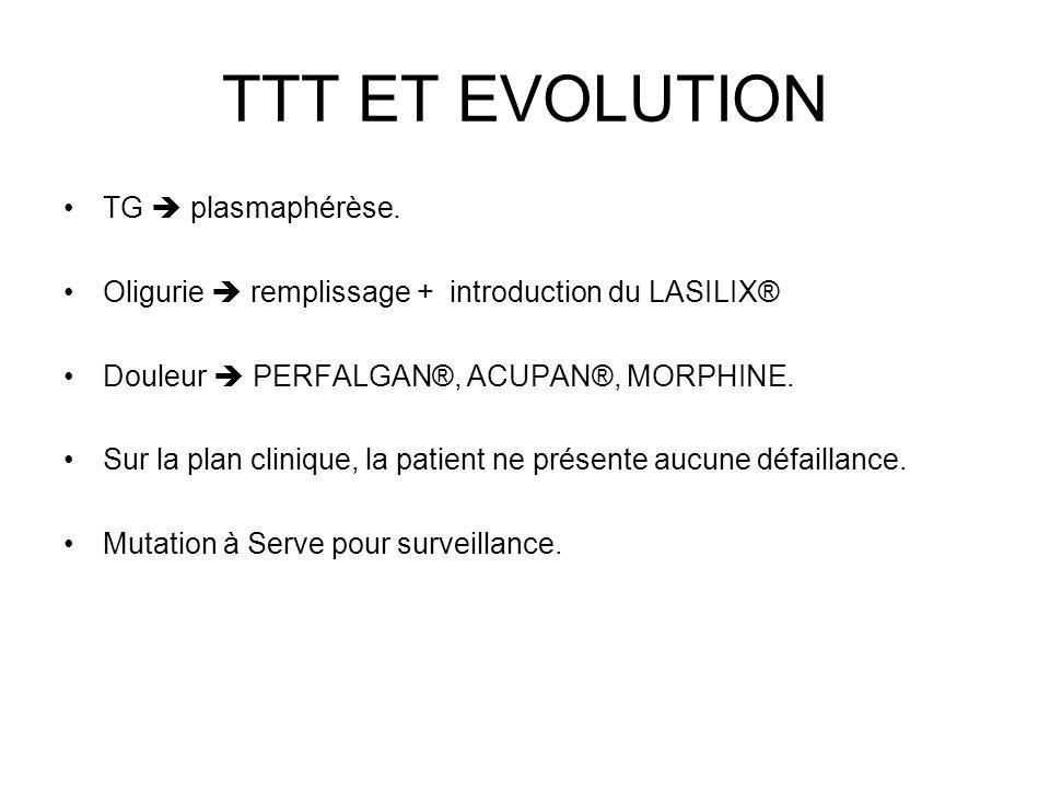TTT ET EVOLUTION TG  plasmaphérèse.