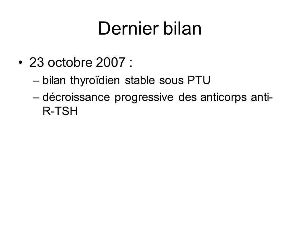 Dernier bilan 23 octobre 2007 : bilan thyroïdien stable sous PTU
