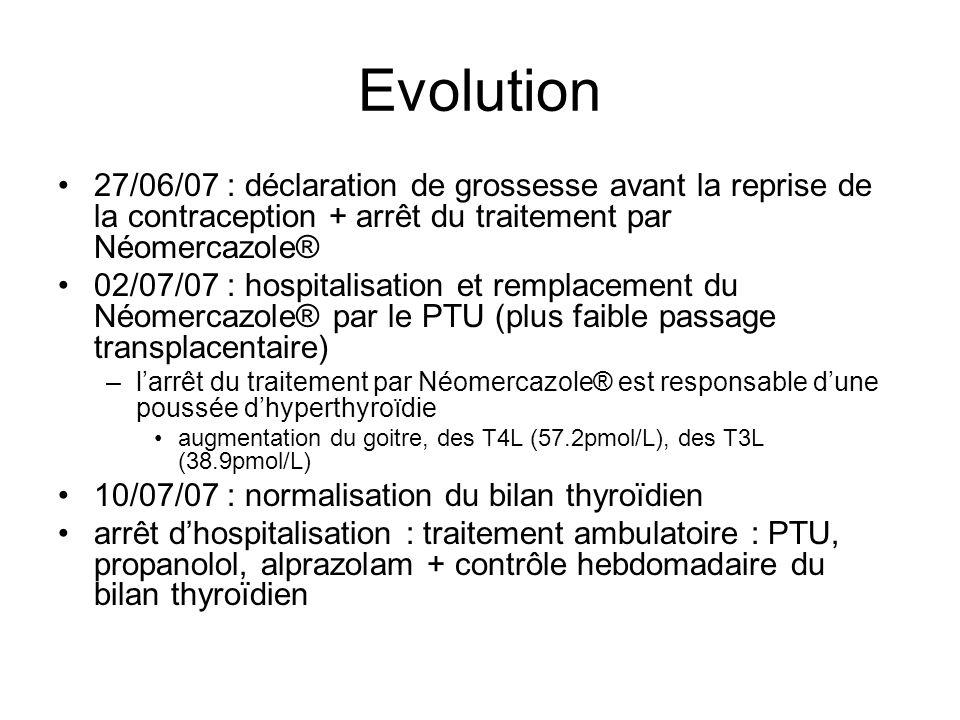Evolution 27/06/07 : déclaration de grossesse avant la reprise de la contraception + arrêt du traitement par Néomercazole®