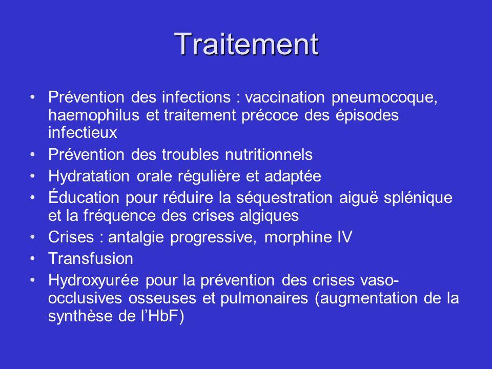 Traitement Prévention des infections : vaccination pneumocoque, haemophilus et traitement précoce des épisodes infectieux.