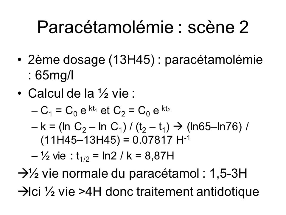 Paracétamolémie : scène 2