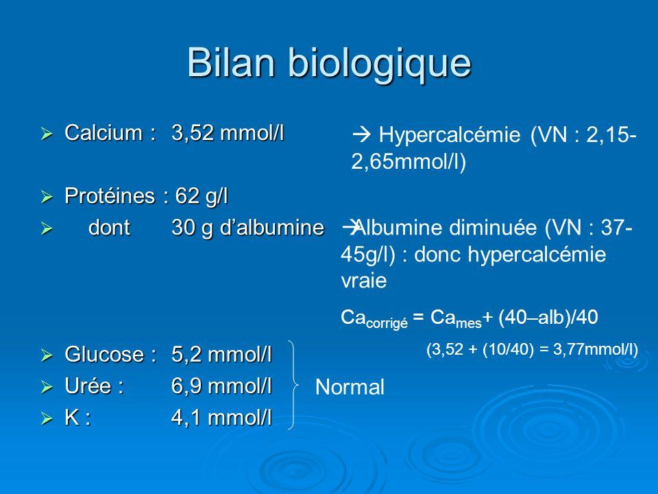 Bilan biologique Calcium : 3,52 mmol/l