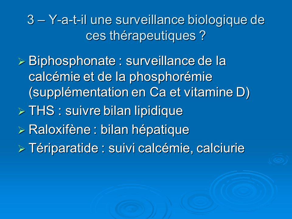3 – Y-a-t-il une surveillance biologique de ces thérapeutiques