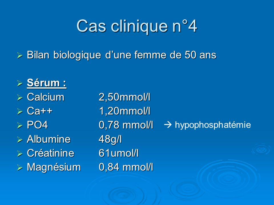Cas clinique n°4 Bilan biologique d'une femme de 50 ans Sérum :