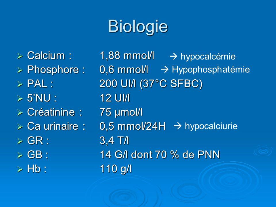 Biologie Calcium : 1,88 mmol/l Phosphore : 0,6 mmol/l