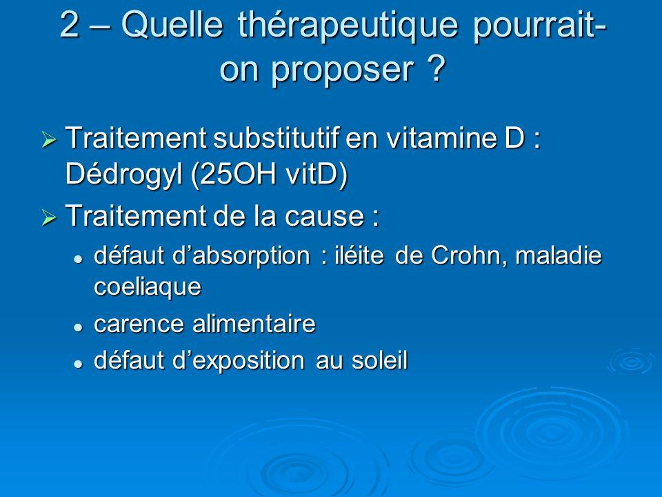 2 – Quelle thérapeutique pourrait-on proposer