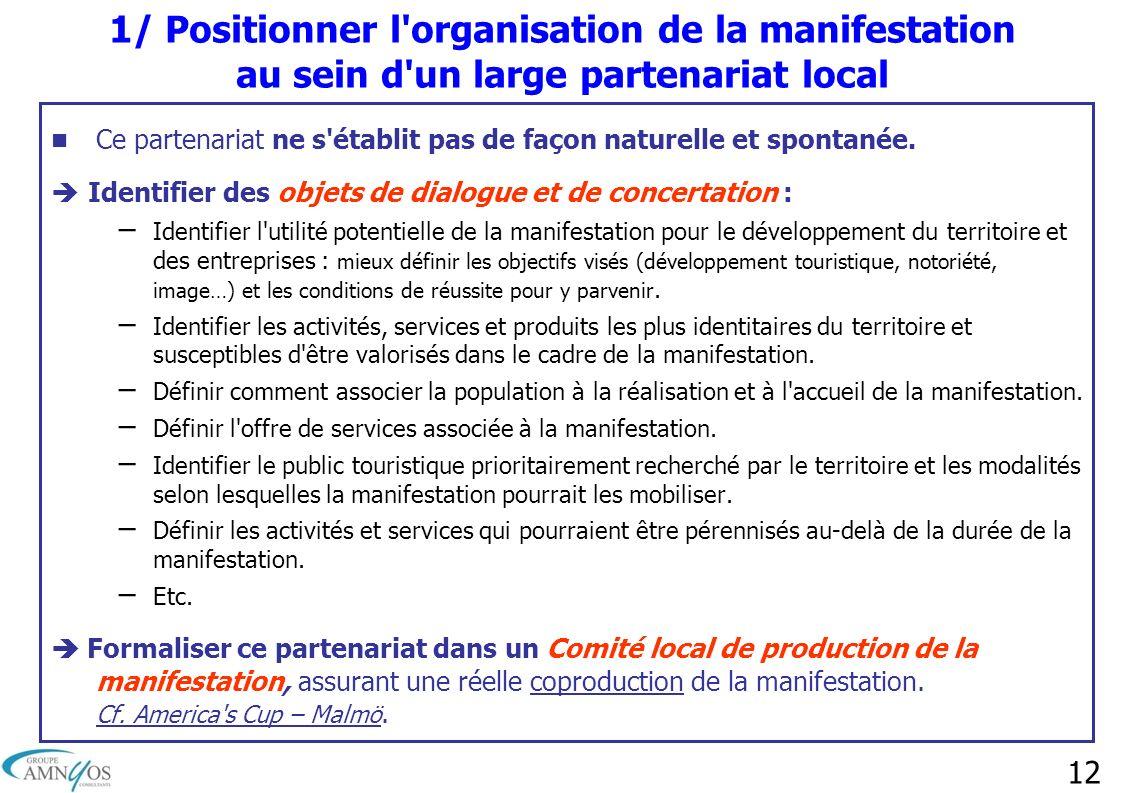 1/ Positionner l organisation de la manifestation au sein d un large partenariat local