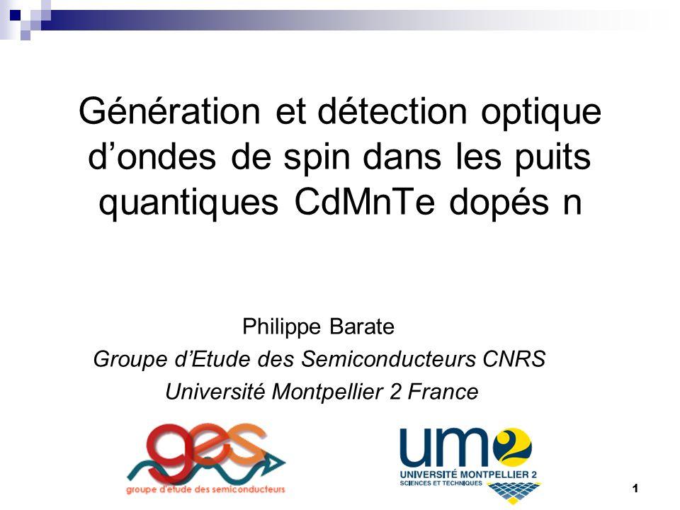 Génération et détection optique d'ondes de spin dans les puits quantiques CdMnTe dopés n