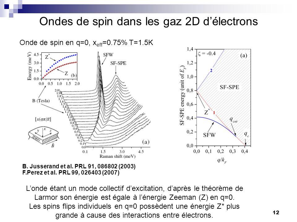 Ondes de spin dans les gaz 2D d'électrons