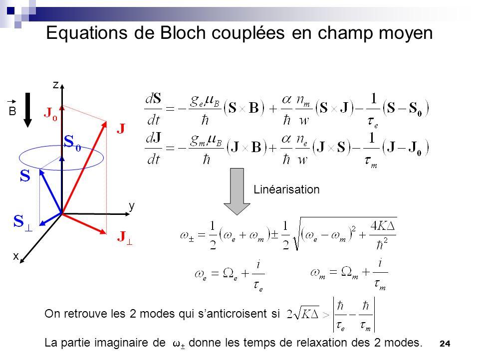 Equations de Bloch couplées en champ moyen