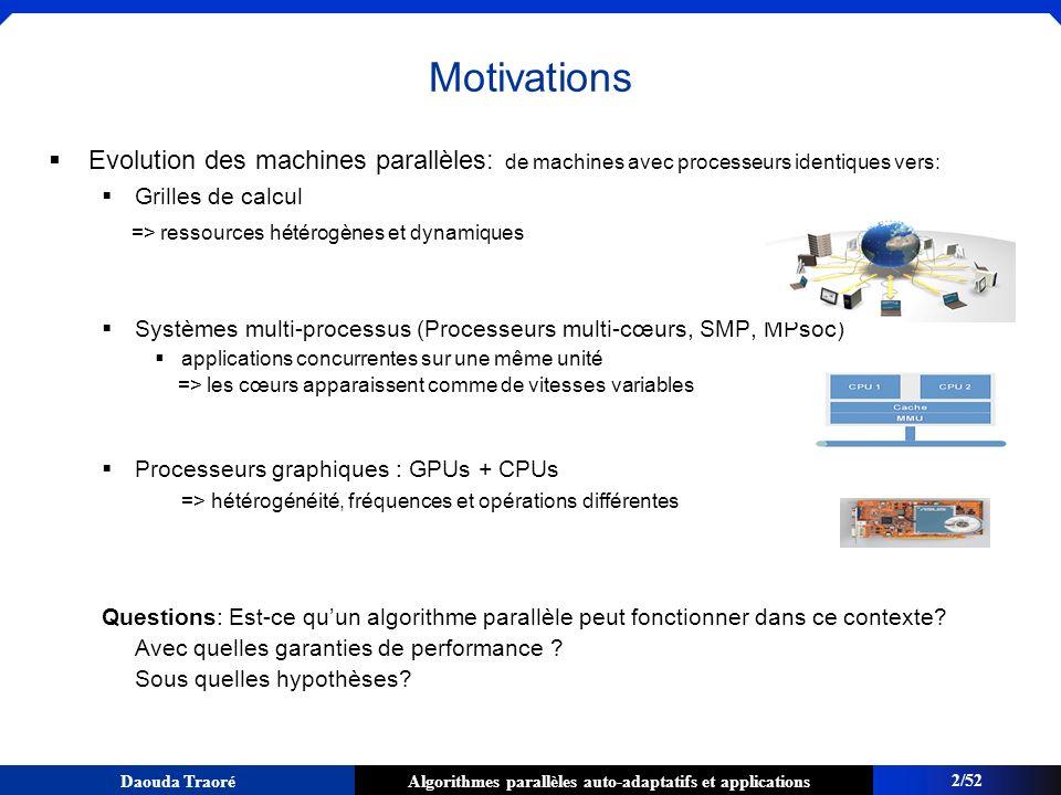 Motivations Evolution des machines parallèles: de machines avec processeurs identiques vers: Grilles de calcul.