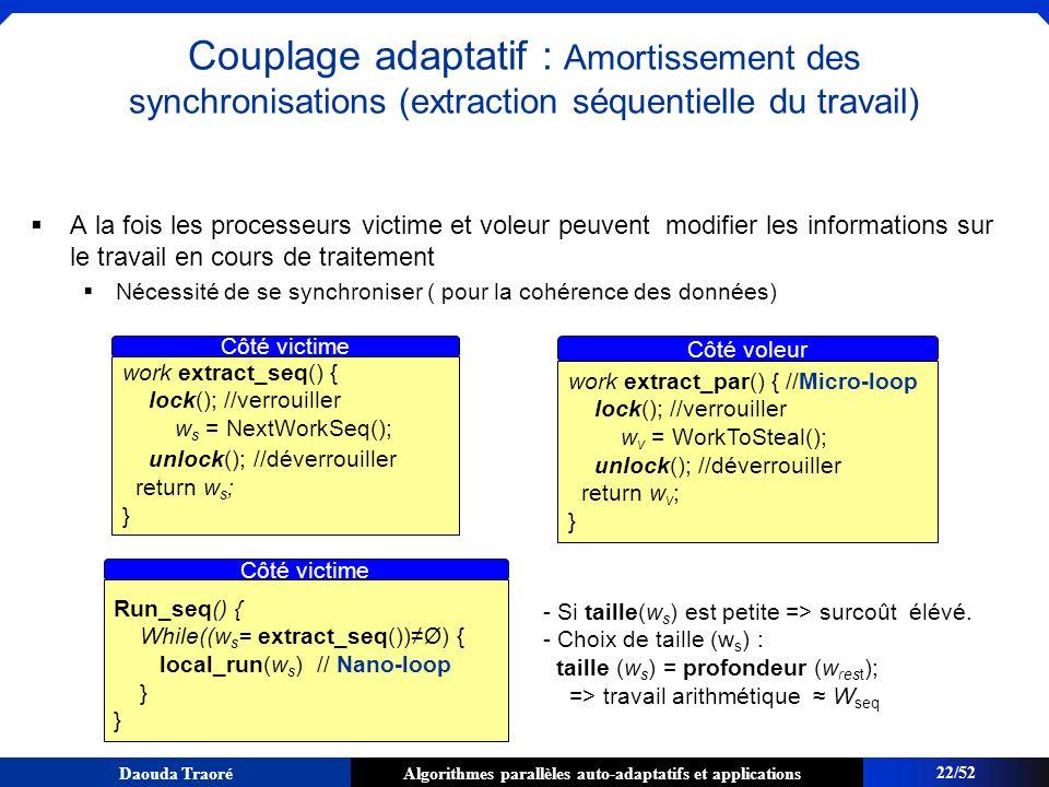 Couplage adaptatif : Amortissement des synchronisations (extraction séquentielle du travail)