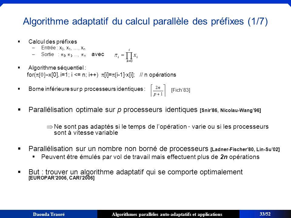 Algorithme adaptatif du calcul parallèle des préfixes (1/7)