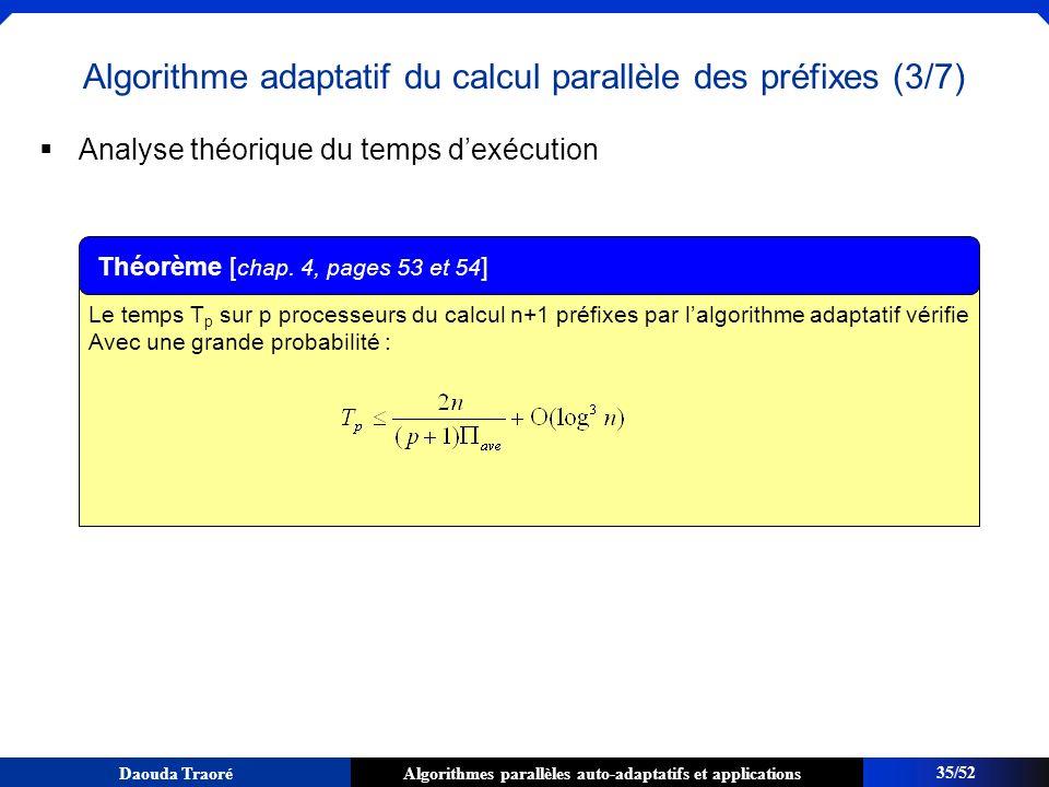 Algorithme adaptatif du calcul parallèle des préfixes (3/7)