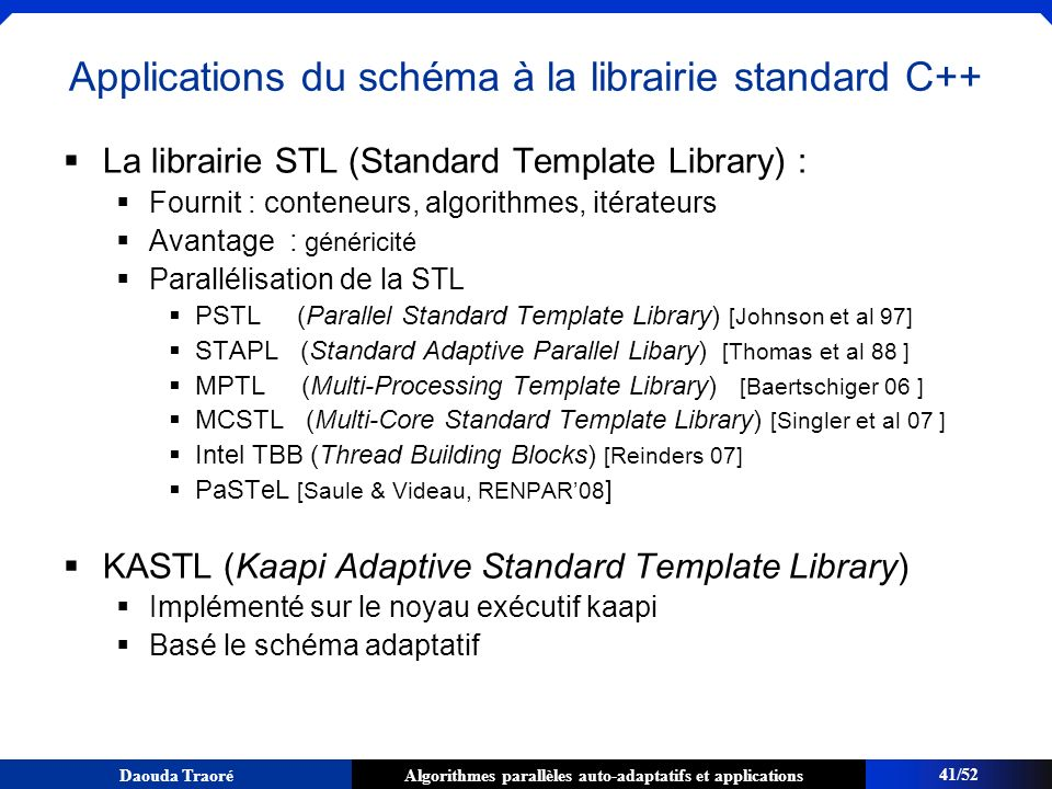Applications du schéma à la librairie standard C++