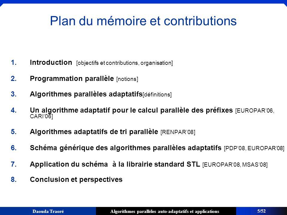 Plan du mémoire et contributions