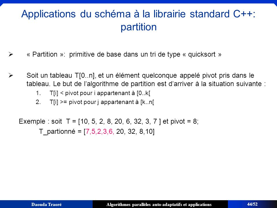 Applications du schéma à la librairie standard C++: partition