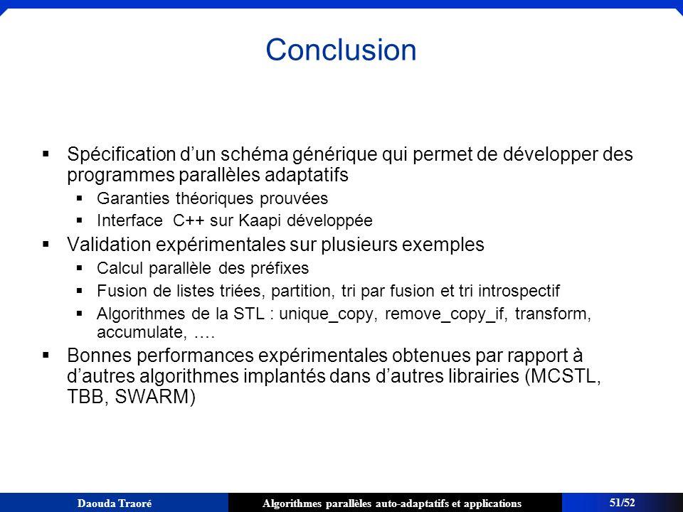 ConclusionSpécification d'un schéma générique qui permet de développer des programmes parallèles adaptatifs.