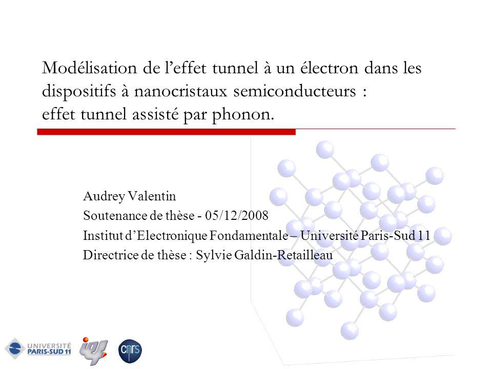Modélisation de l'effet tunnel à un électron dans les dispositifs à nanocristaux semiconducteurs : effet tunnel assisté par phonon.