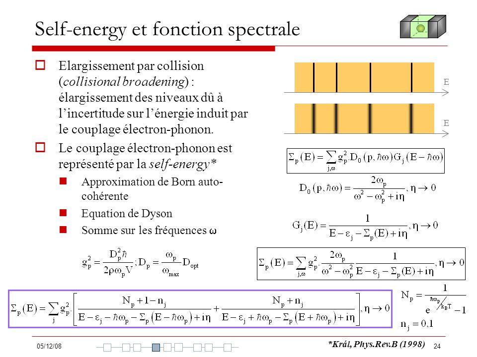Self-energy et fonction spectrale