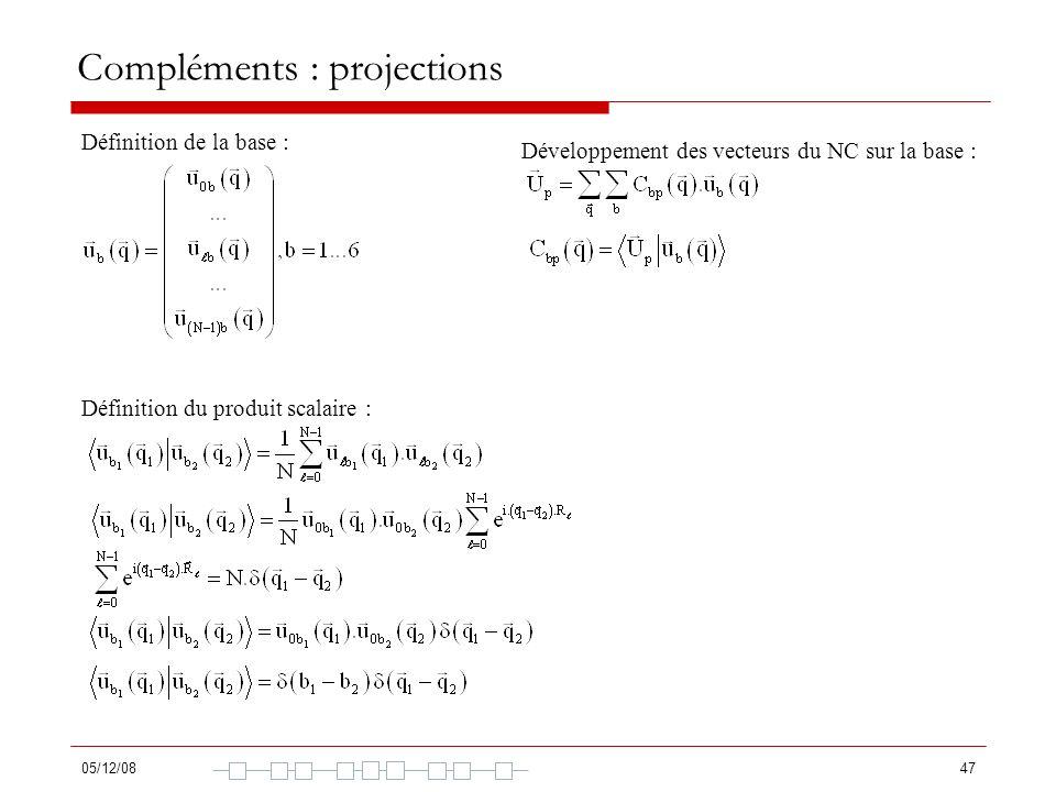 Compléments : projections