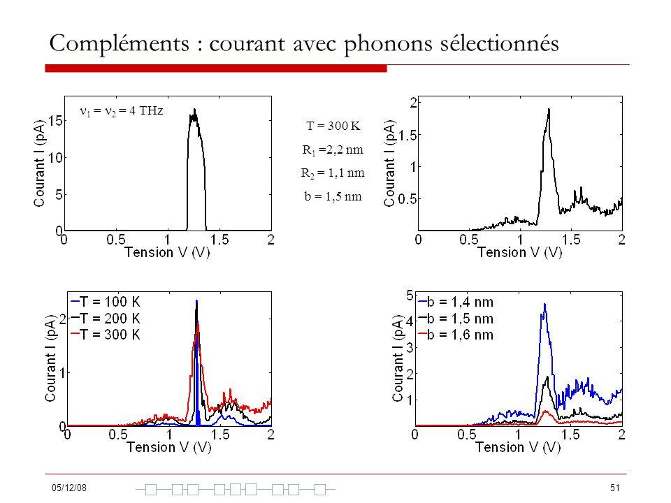 Compléments : courant avec phonons sélectionnés