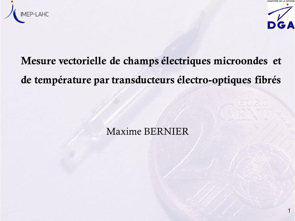 Mesure vectorielle de champs électriques microondes et de température par transducteurs électro-optiques fibrés