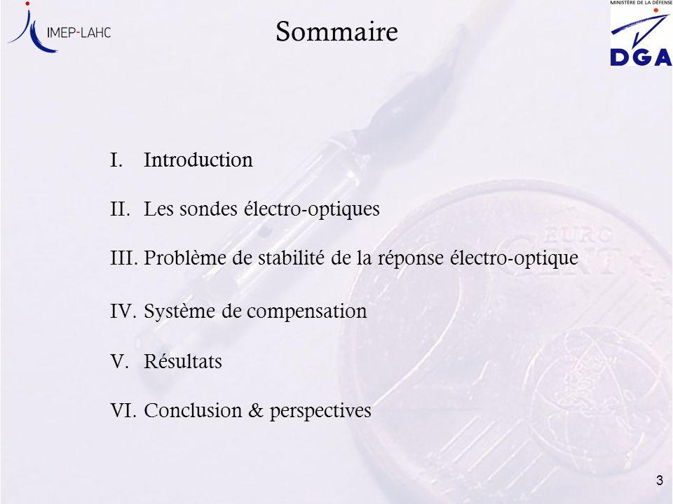Sommaire Introduction Les sondes électro-optiques