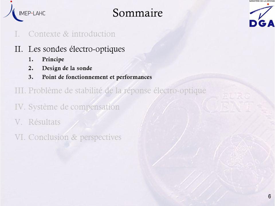 Sommaire Contexte & introduction Les sondes électro-optiques
