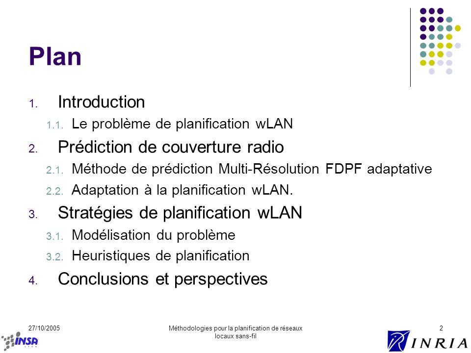 Méthodologies pour la planification de réseaux locaux sans-fil