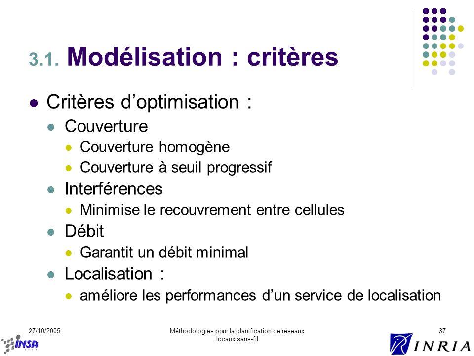 3.1. Modélisation : critères