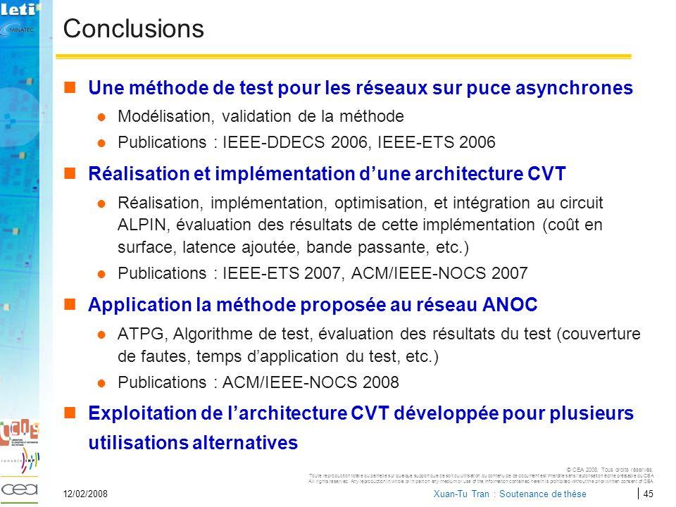 Conclusions Une méthode de test pour les réseaux sur puce asynchrones