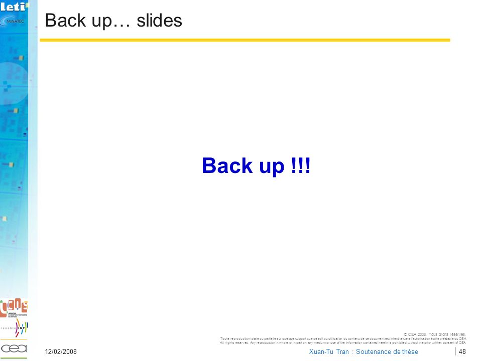 Back up !!! Back up… slides 12/02/2008